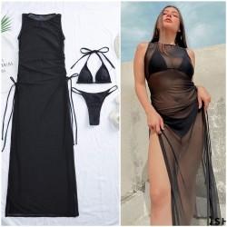 Купальник с мягкими чашками, плавки стринги бразилиана + платье-туника